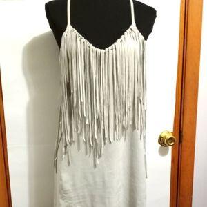 Zara Gray Faux Suede Western Inspired Tassle Dress